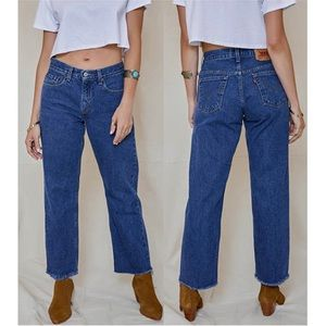 Vintage LEVI'S High Rise Wide Leg Raw Hem Jeans 29